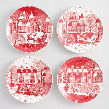 Winter Scene Santa Plates Set of 4