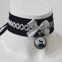 Gothic choker - Lone wolf - black and grey witch choker with pendant and lacing - wiccan wicca goth howling - lolita kitten pet play collar