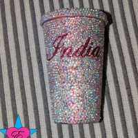 "Custom ""Your Name"" AB Rhinestone Cold Cup"