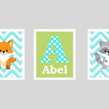 Nursery Wall Decor Art Print Baby decor Monogram Print, Letter and Name, Light Aqua Chevron Print, Fox Raccoon, CUSTOMIZE YOUR COLORS, 8x10