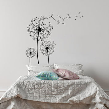 Dandelion Blossom Wall Decal- Dandelion Flower Vinyl Wall Decal for Bedroom- Vinyl Dandelion Wall Decor- Dandelion Wall Art Flower Decor #29