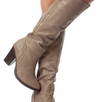 Taupe Faux Leather Knee High Zipper Accent Chunky Boots