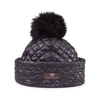 UGG Australia Womens Quilted Fabric Hat with Pom Black Multi One Size