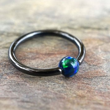 Black CBR Hoop with Blue Green Opal Cartilage Hoop Tragus Helix Rook