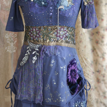Indigo  - oriental flair tunic or dress, textile collage with vintage laces and trims, sequins, beading, altered wearable art