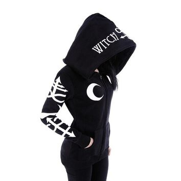 2018 Women Hoodies Clothes Gothic Punk Moon Letters Printed Sweatshirts Winter Autumn Long Sleeve Jacket Zipper Coat