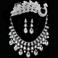 Wedding Bridal Sets Necklace Crown Earrings Silver Drop Pearl Crystal Bib