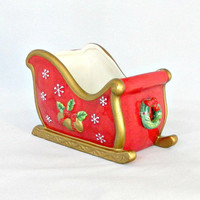 "Fitz & Floyd Christmas Decor, Vintage ""Festive Bells"" Red Porcelain Santa's Sleigh Figurine, Hand Painted Gold Trim"