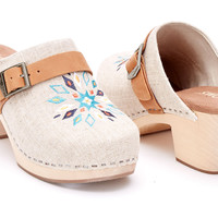 Natural Linen Embroidery Women's Elisa Clog Sandals