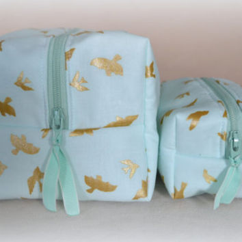 Mommy and Me Aqua with Gold Birds Cosmetic Cases, Aqua Makeup Bag Set, ,Monogram Available