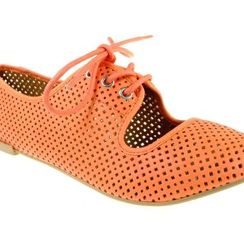 Women's Qupid Perforated Lace Up Flat Shoes Salya-747 Peach