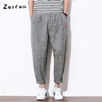 Zaitun New Men Linen Pants Ankle- Length Swag Baggy Hip Pop Harem Trousers Casual Embroidery Style Luxury Brand Trousers