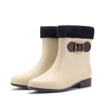 Ladies Rain Booties Women Warm PVC Bowknot Slip On Shoes Autumn Winter Flat Heel Waterproof Rainy Knight Ankle Boots New