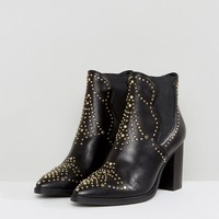 Steve Madden Himmel Leather Studded Heeled Boots at asos.com