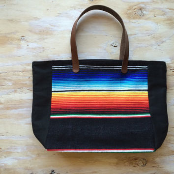 Southwest Serape Tote/ Beach Tote/ Navajo/ Leather
