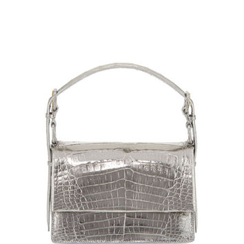 Nancy Gonzalez Mini Flap Crocodile Top-Handle Bag, Anthracite Mirror