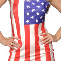 American Flag Sleeveless Mini Dress Design 3035