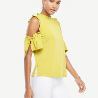Cold Shoulder Ruched Top | Ann Taylor