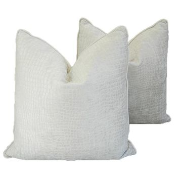 "Boho Chic Ultra Bone White Crocodile Velvet Feather/Down Pillows 24"" Square - Pair"