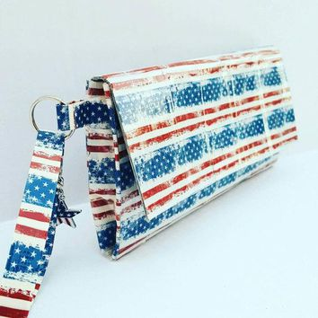 Cute Wrislet Handbag, American Flag Bag, USA Red White and Blue Purse