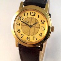 """Vintage Men's """"RAY"""" (LUCH) wristwatch. Unusual dial, round face, Soviet  USSR watch. Gift for him"""