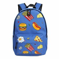 Hamburgers/Hot Dogs/ Pizza/Fries......Cool Junk Food Backpack   Blue