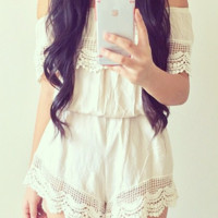 Everything in Its Lace Romper - Ivory