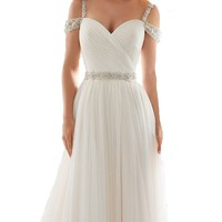 TBGirl Luxury Beaded Sweetheart Lace Ball Gown Wedding Dresses with Long Train