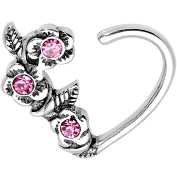 "3/8"" Pink Gem Bunch of Roses Right Daith Cartilage Tragus Earring"