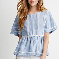 Flutter-Sleeved Peplum Top