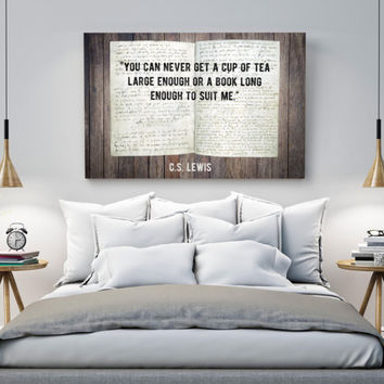 CS Lewis Quote, cup of tea large enough, book long enough, literary poster, digital Download, Wall art printable, Instant Download