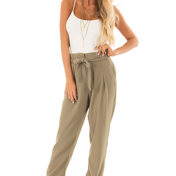 Light Olive Crepe Pants with Elastic Waist and Tie