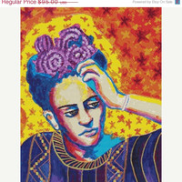 20% OFF Frida Kahlo Mexican Art Orange Purple Red and Blue Cross stitch kit by Heather Galler Christmas Gift