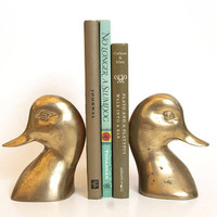 Vintage Solid Brass Duck Bookends, Hollywood Regency Mallard Book Ends, Mancave Decor, Duck Hunting