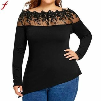 Plus Size Women Lace Patchwork Tunic Long Sleeve Casual Blouse