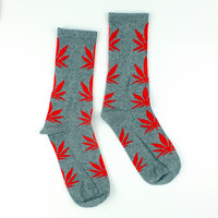 Men Casual Long Socks/Grey Weed