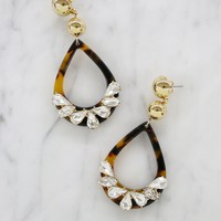 Edgy Yet Sweet Dangle Drop Resin Earrings in Tortoise and Gold