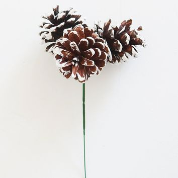 "Holiday Pine Cone Pick with Frosted White Tips - 8"" Tall"