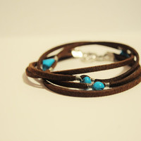 Suede and Turquoise Wrap bracelet