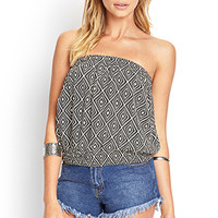 FOREVER 21 Geo Print Crop Top Black/Cream