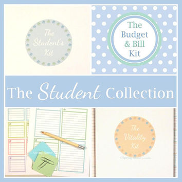 The STUDENT COLLECTION - 45 Documents - Instant Download - student planner / budget / notes / fitness / high school / college / organizer
