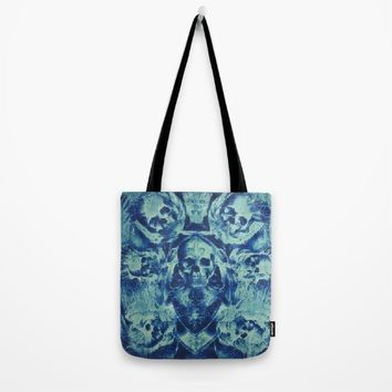 Blue Skulls (Abstract Surreal Blue Halloween Ghost Hour) Tote Bag by Jeanette Rietz