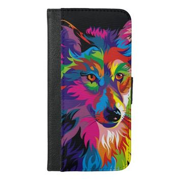 Colorful Wolf iPhone 6 Plus Wallet Case