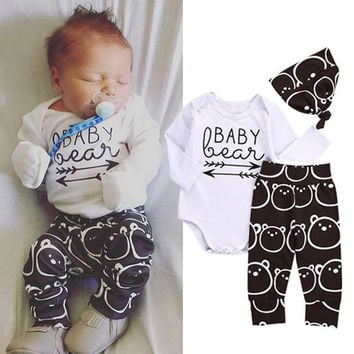 Newborn Baby Girls Boys Clothes Bear Tops Bodysuits Long Sleeve + Long Pants Hat 3pcs Clothing Outfits Set Baby Boy