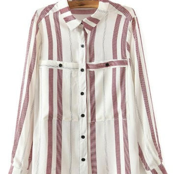 Stripe Double Pockets Collared Long Sleeve Blouse