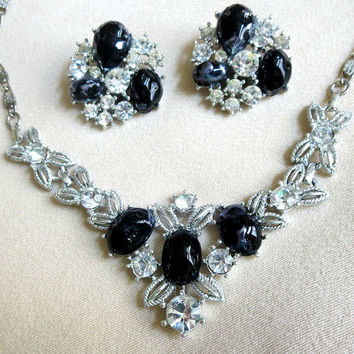 Black Lucite & Clear Rhinestones Necklace and Earrings Set
