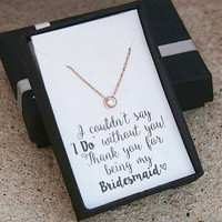 Bridesmaid Necklace,Bridesmaid Gift,Rose Gold Necklace,Maid of Honor Gift,Matron of Honor Gift,Solitaire Necklace,Rustic Wedding