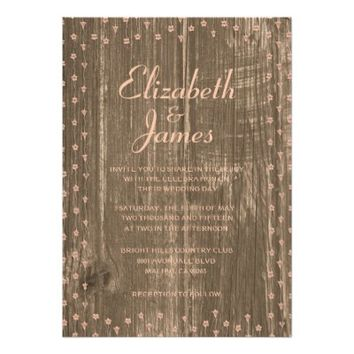 Coral Rustic Country Barn Wood Wedding Invitations