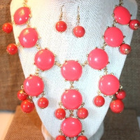 Coral Bubble Necklace with Earrings