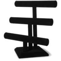 Darice 12-Inch-by-12-Inch Triple Bar Jewelry Stand, Black Velvet